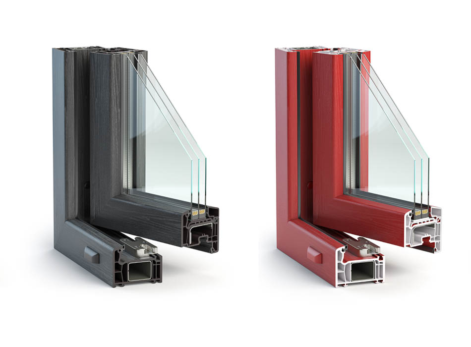 Bespoke windows in coloured unplasticized polyvinyl chloride (uPVC), or aluminium