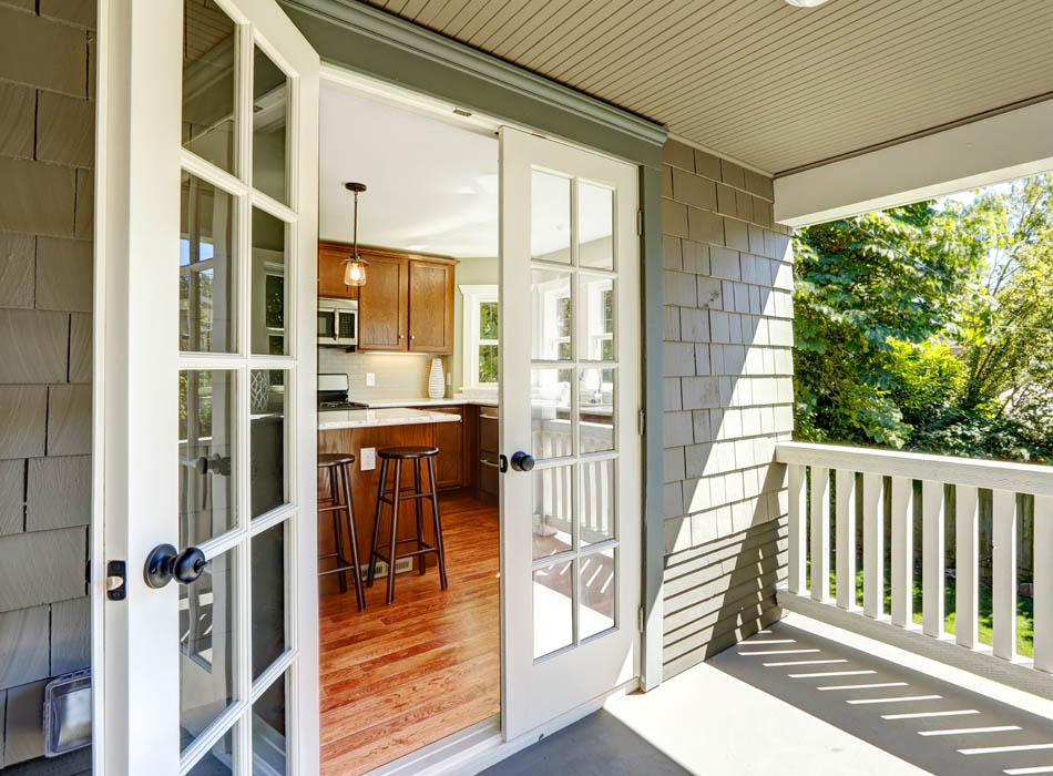 Classic white French Doors or the traditional appearance of rosewood